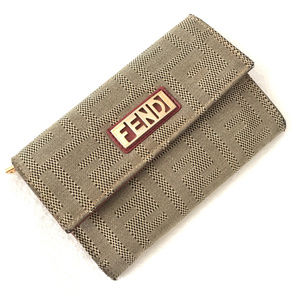 Authentic Fendi Logo canvas and leather wallet